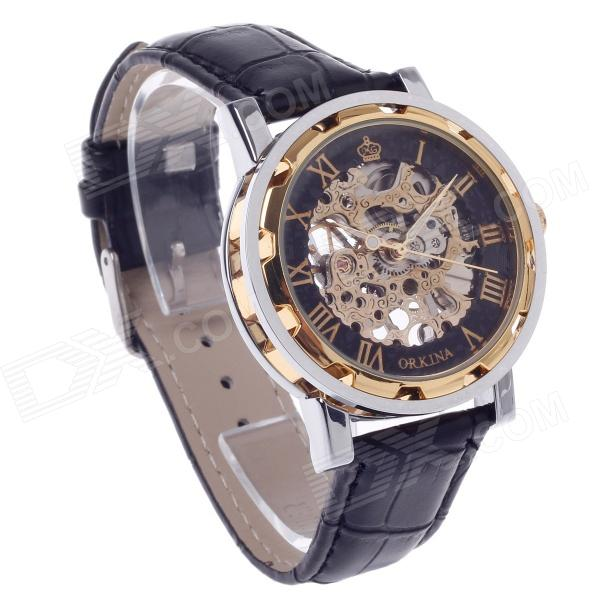 ORKINA KC023 Double-Sided Hollow Automatic Mechanical Men's Wrist Watch - Black + Silver + Rose Gold 40mm corgeut white sterile dial rose gold case miyota automatic mens watch