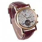 ORKINA MG019 Double-Sided Skeleton Automatic Men's Analog Mechanical Wrist Watch - Brown + Golden