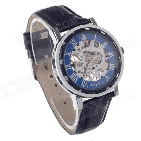 ORKINA KC023 Skeleton Automatic Analog Mechanical Men's Wrist Watch - Black + Silver + Blue