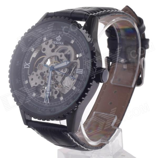 ORKINA MG008 Double-Sided Skeleton Automatic Analog Mechanical Men's Wrist Watch - Black