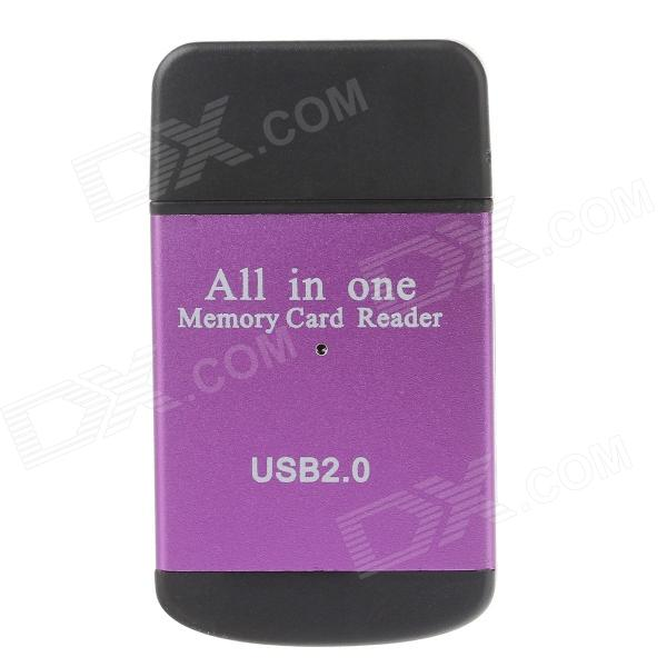 Compact All-in-One USB 2.0 SD / MMC / RS-MMC / Mini SD / TF / M2 Memory Card Reader - Purple + Black