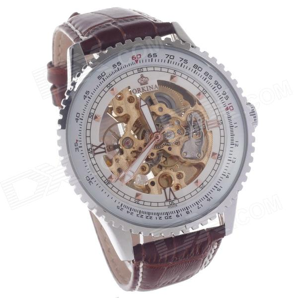 ORKINA MG008 Double-Sided Skeleton Mechanical Men's Wrist Watch - Brown + Rose Golden + Silver