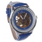ORKINA MG008 Double-Sided Skeleton Automatic Analog Mechanical Men's Wrist Watch - Blue + Silver