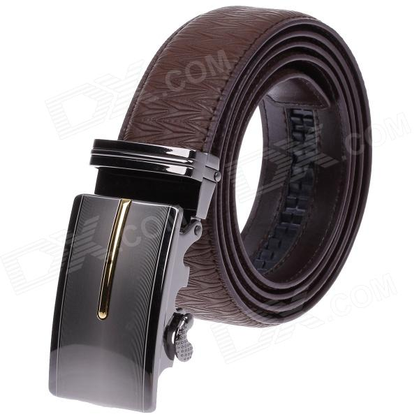 GM509315 Fashion Leather Belt  w/ Zinc Alloy Automatic Buckle for Men - Brown spectral matching of earthquake gm using wavelets and broyden updating