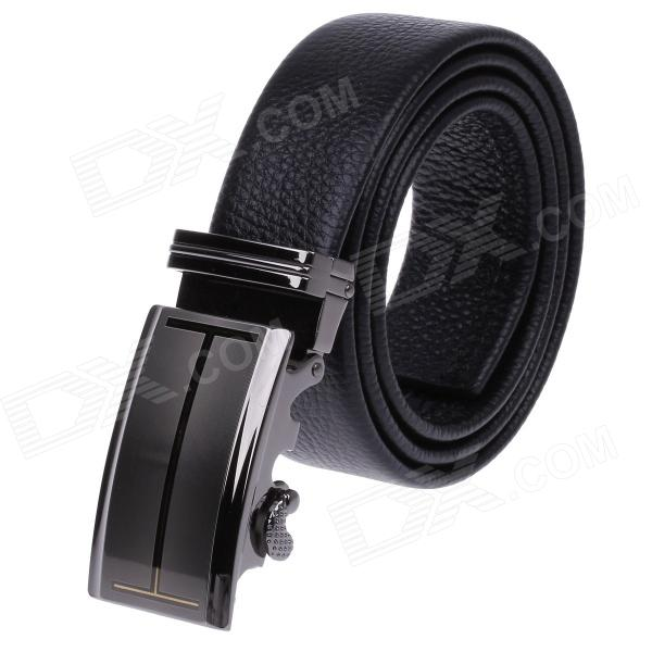QG5282 Fashion Litchi Pattern Genuine Leather Belt  w/ Zinc Alloy Automatic Buckle for Men - Black перфоратор bosch gbh 2 24 dfr 790вт