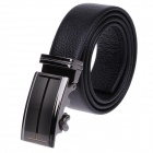 QG5282 Fashion Litchi Pattern Genuine Leather Belt  w/ Zinc Alloy Automatic Buckle for Men - Black