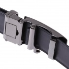 GM50821 Fashion Lizard Pattern Leather Belt  w/ Zinc Alloy Automatic Buckle for Men - Black