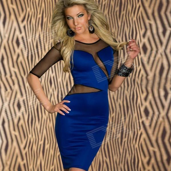 LC2755-1 Sexy Decolletage Short-Sleeves Dress w/ Mesh for Women - Blue + Black ( Free Size)  free shipping lamtop 180 days warranty original projector lamp 610 346 9607 for lc xl200l lc xl200al