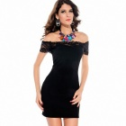 Sexy Boat Neck Dress - Black (Free Size)