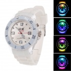 ICE Fashionable Men's Silicone Band Analog Quartz Wrist Watch w/ LED Light - White