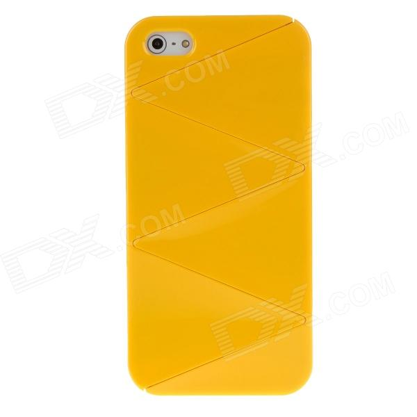 Detachable Crackle Style Protective Plastic Back Case for iPhone 5 - Yellow