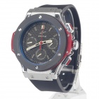 SPEATAK SP9010G Fashion Men's Rubber Band Quartz Wrist Watch w/ Date Display - Black + Silver + Red