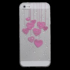 Cute Heart-Shape Pattern Protective Plastic Back Case for Iphone 5 - Pink + Transparent