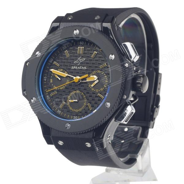 SPEATAK SP9010G Fashion Men's Rubber Band Quartz Wrist Watch w/ Date Display - Black + Yellow the director