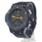 SPEATAK SP9010G Fashion Men's Rubber Band Quartz Wrist Watch w/ Date Display - Black + Yellow