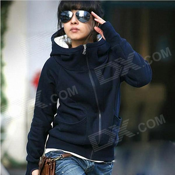 Add Velvet High Collar Thickening Cap Fleece Sweater - Deep Blue