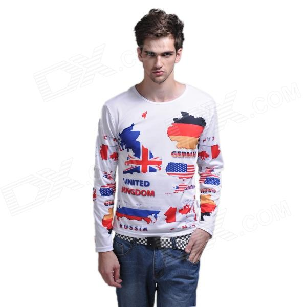 XINGLONG National Flag Pattern Men's Long-Sleeve T-shirt - Multicolored (Size-XL)