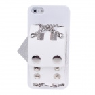 Protective Plastic Back Case w/ PU Leather Wrist Strap for Iphone 5 - White + Silver