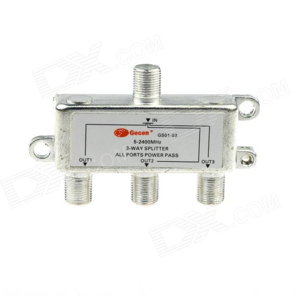 GS01-03 3 x 1 3-Way 5~2400MHz Splitter All Ports Power Pass for SATV CATV - Silve
