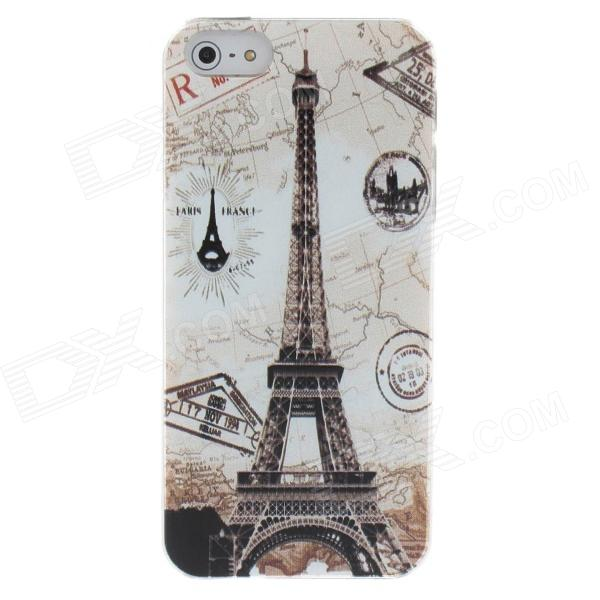 The Eiffel Tower Style Protective Plastic Back Case for Iphone 5 - White + Brown