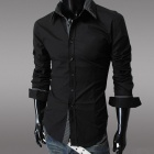 Men's Slimming Fit Long Sleeves Shirt - Black