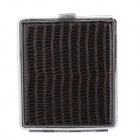 HAOJUE PU Leather + Stainless Steel Cigarette Case - Silver + Brown (Holds 16 PCS)