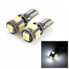 exLED T10 1W 80LM 5-SMD 5050 LED White Light Car Umrissleuchte (12V / Paar)