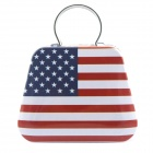 10050059M USA Flag Pattern Tin Plate Storage Case - White + Red + Blue