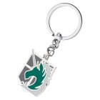 Anime Style Horse Head Pattern Zinc Alloy Keyring / Keychain - Green + White + Silver