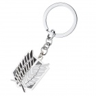 Anime style Feather Pattern Zinc Alloy Key Ring Keychain - Black + White + Silver