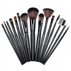 15-in-1 Cosmetic Makeup Brushes w/ PU Leather Carrying Bag - Black