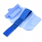 Universal Waterproof Bag Pouch w/ Armband + Neck Strap for Cell Phones - Translucent Blue