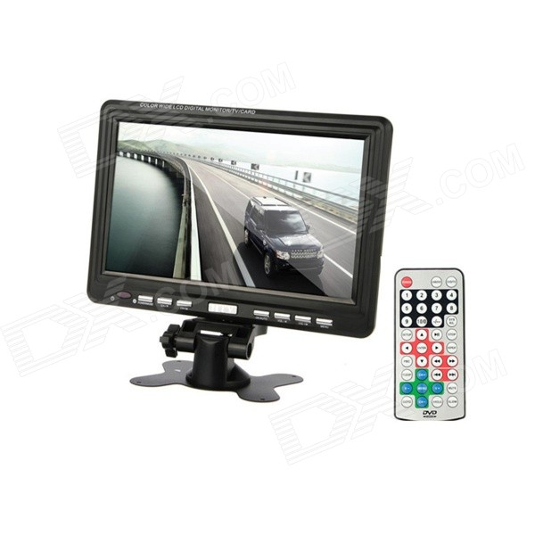 9 TFT LCD Digital Car Desktop Monitor w/ TV / AV / SD - Black 8 4inch 8 4 non touch industrial control lcd monitor vga interface white open frame metal shell tft type 4 3 800 600