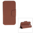 Protective PC Back Case + PU Leather Cover Stand for Samsung Galaxy S3 i9300 - Coffee