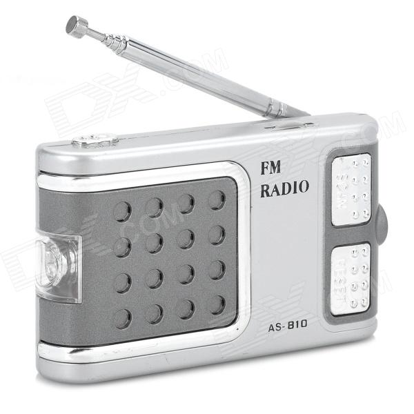 OJADE AS-810 87-108MHz FM Radio w/ LED Torch / Earphone - Silver White + Grey + Silver 100w 150w 2u professional fm broadcast radio transmitter fm transmisor 87 108 mhz dipole antenna