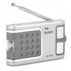 OJADE AS-810 87-108MHz FM Radio w/ LED Torch / Earphone - Silver White + Grey + Silver