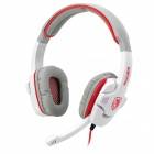 SADES SA-708 Wired Hi-Fi Gaming Headset Headphone w/ Microphone - White + Grey + Red (3.5mm-Plug)