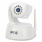 "ipcc-H01 1/4"" CMOS Security Surveillance Wireless Wi-Fi IP Camera w/ 12-IR LED - White"