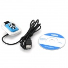 EXOO MO68 0.3MP USB Powered Camera w/ Built-in Microphone for PC - Blue + White