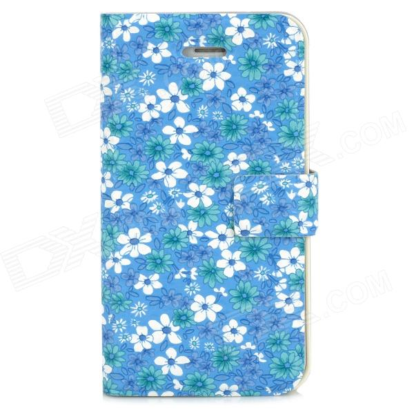 Protective Flower Pattern Flip Open Case for Iphone 4 / 4S - Blue + White statue of liberty pattern protective plastic case for iphone 4 4s blue white
