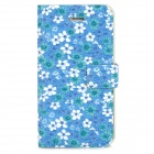 Protective Flower Pattern Flip Open Case for Iphone 4 / 4S - Blue + White