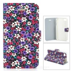 Protective Flower Pattern Flip Open Plastic Case for Iphone 4 / 4S - Multicolored