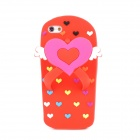 Cute Heart Slippers Style Protective Silicone Back Case for Iphone 5 - Red
