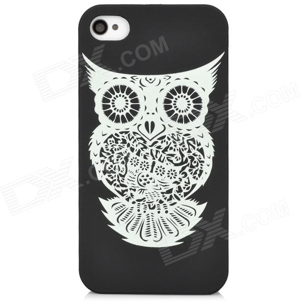 Glow-in-the-Dark Owl Pattern Back Case for Iphone 4 / 4S - Black + White detectable 8x telescope w tripod back case for iphone 4 4s white silver black