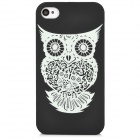 Glow-in-the-Dark Owl Pattern Back Case for Iphone 4 / 4S - Black + White
