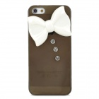 Fashion Bow Style Crystal Back Case for Iphone 5 - Translucent Black + White