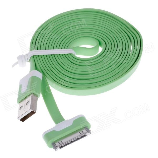 Flat 30-Pin Male to USB 2.0 Male Data Sync / Charging Cable for iPhone 4 / 4S / iPad 2 / 3 - Green