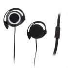Trendy Ear Hook Stereo Earphones - Black + White  (3.5mm-Plug / 120cm-Cable)
