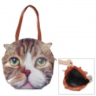 MTL30 Cat Head Style PU Shoulder Bag - White + Brown