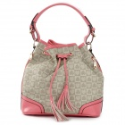 JUST STAR Heart Style PU Bucket Shoulder Bag for Women - Watermelon Red + Grey
